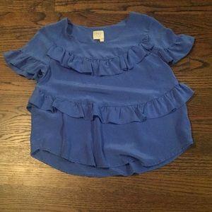 100% Silk Anthropologie Blue Ruffled Blouse